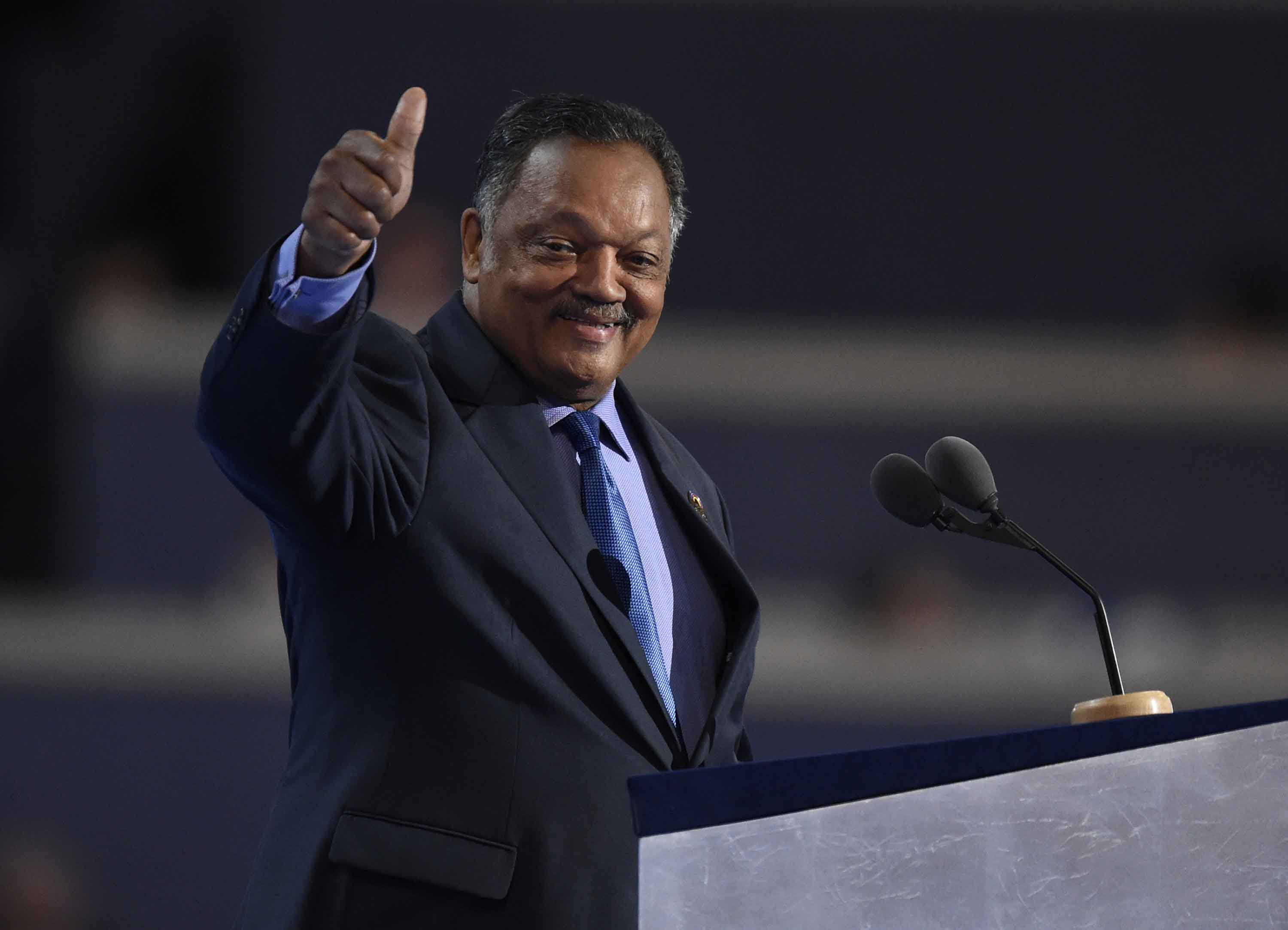 Rev. Jesse Jackson speaks on the third day of the Democratic National Convention at the Wells Fargo Center in Philadelphia on Wednesday, July 27, 2016. (Clem Murray/Philadelphia Inquirer/TNS)