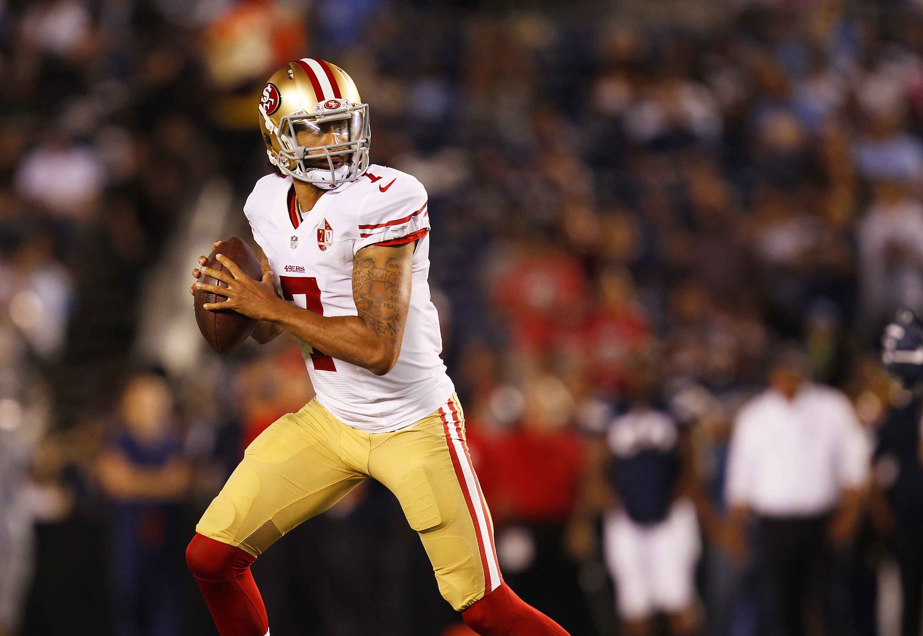 San Francisco 49ers quarterback Colin Kaepernick scrambles against the San Diego Chargers in the second quarter during a preseason game on Thursday, Sept. 1, 2016, at Qualcomm Stadium in San Diego. (K.C. Alfred/San Diego Union-Tribune/TNS)