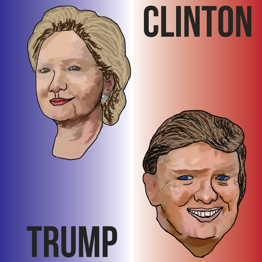Caricature of presidential candidates Hilary Clinton and Donald Trump. (Sloan Marion | DailyEgyptian.com)