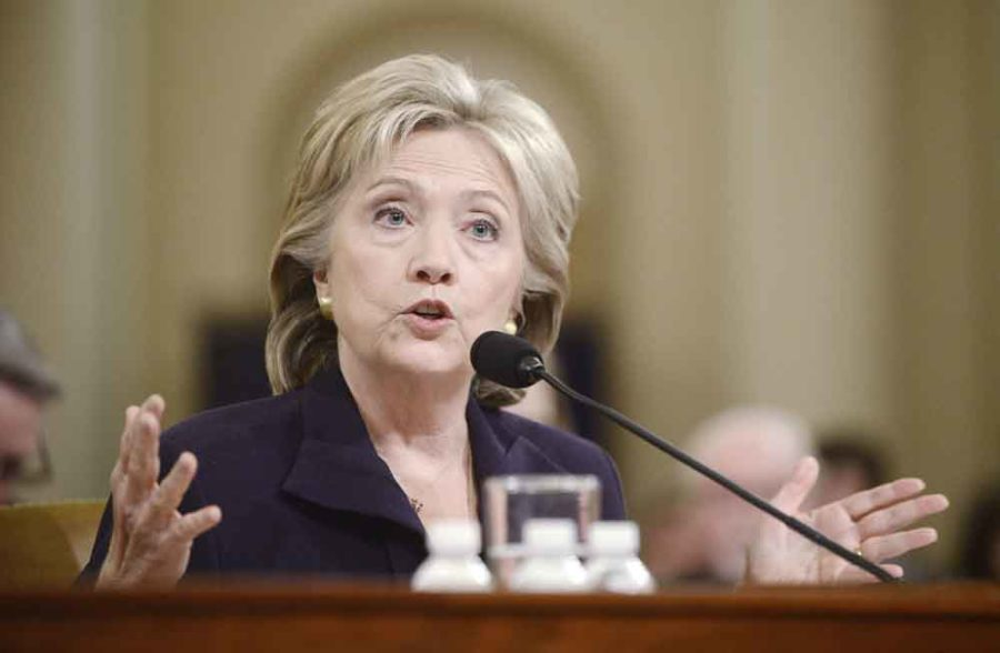 Former Secretary of State and Democratic presidential hopeful Hillary Clinton testifies before the House Select Committee on Benghazi on Capitol Hill in Washington, D.C., on Thursday, Oct. 22, 2015. (Olivier Douliery/Abaca Press/TNS)