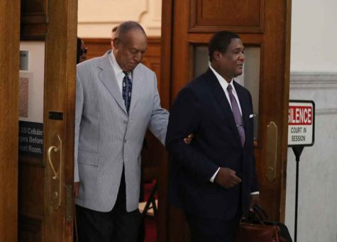 Bill Cosby, left, is lead out of Courtroom A on the Montgomery County Courthouse after the pre-trial conference on Sept. 6, 2016 in Norristown, Pa. The court date was set to be no later than June 5, 2017. (Michael Bryant/Philadelphia Inquirer/TNS)