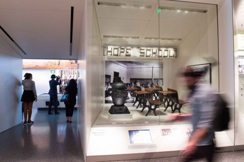 Desks and a wood burning stove from the Hope School are on display at the Smithsonian National Museum of African American History and Culture on Sept. 14, 2016 in Washington, D.C. (Ken Cedeno/McClatchy/TNS)