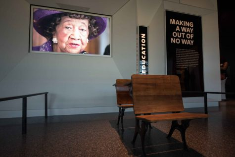 Desks from the Hope School in Pomaria, S.C. are on display at the Smithsonian National Museum of African American History and Culture on Sept. 14, 2016 in Washington, D.C. (Ken Cedeno/McClatchy/TNS)