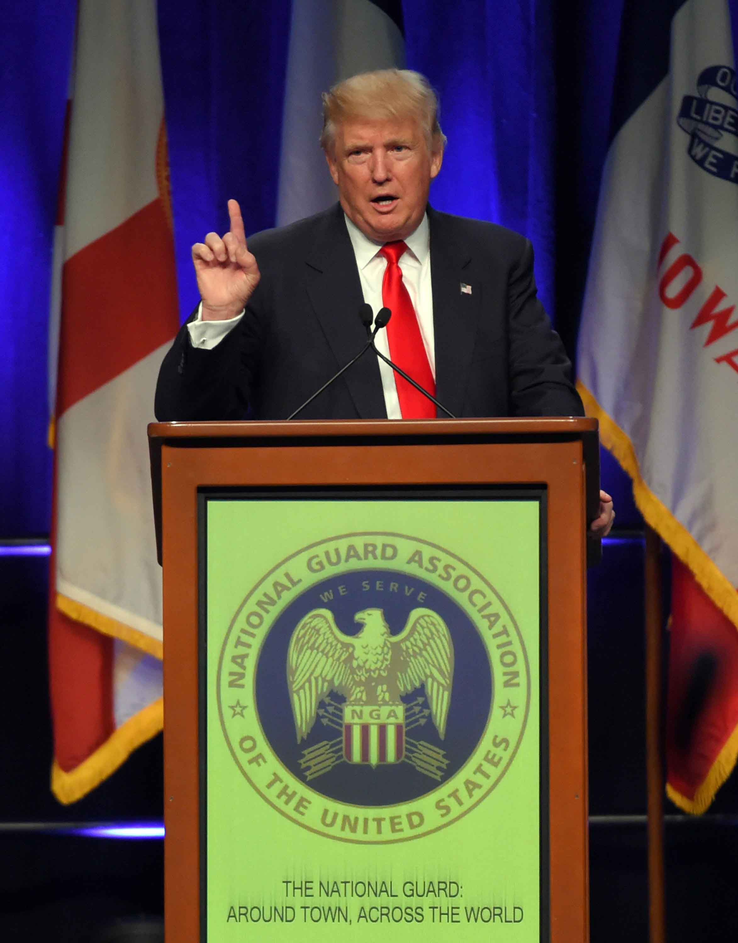 Donald Trump speaks on Monday, Sept. 12, 2016 to the National Guard Association of the United States conference, held in Baltimore, Md. (Lloyd Fox/Baltimore Sun/TNS)