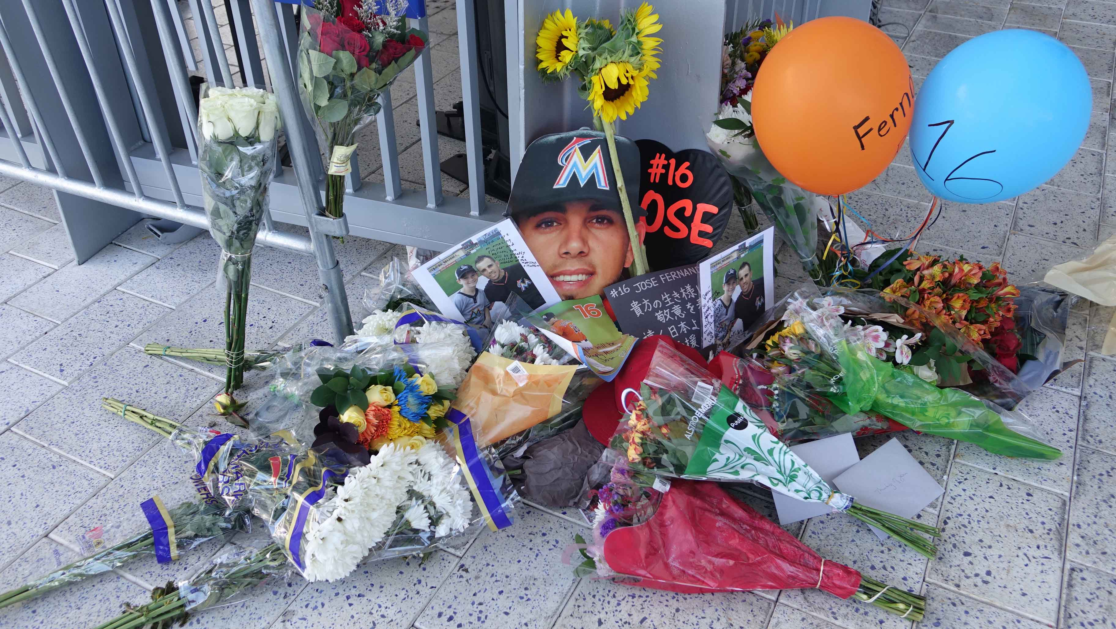 A memorial for Jose Fernandez takes shape at Marlins Park in Miami after the game against the Atlanta Braves was cancelled when Fernandez died in a boating accident, Sunday, Sept. 25, 2016, in Maimi Beach. (Joe Caveretta/Sun Sentinel/TNS)