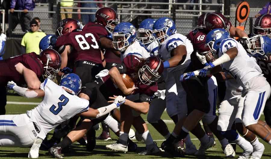 SIU sophomore quarterback Matt Desomer clings to the ball during the Salukis' 22-14 loss to Indiana State on Saturday, Oct. 22, 2016, at Saluki Stadium. (Athena Chrysanthou | @Chrysant1Athena)