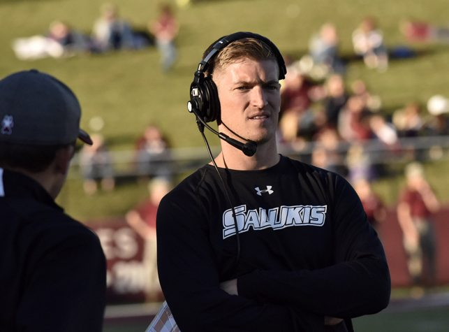SIU coach Nick Hill watches from the sideline during the Salukis' 22-14 loss to Indiana State Indiana State, Saturday, Oct. 22, 2016 at Saluki Stadium. (Athena Chrysanthou | @Chrysant1Athena)