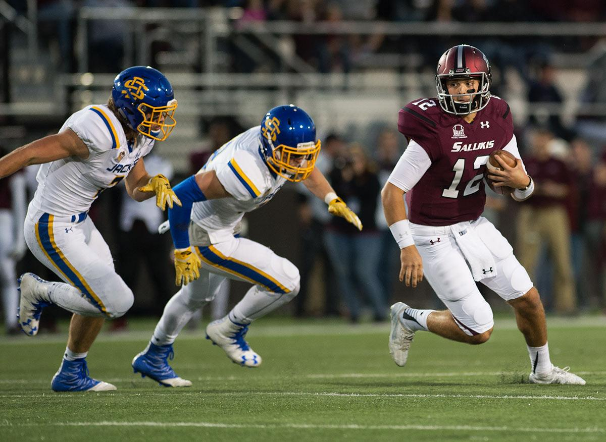 SIU senior quarterback Josh Straughan runs with the ball during the Salukis' 45-39 loss to South Dakota State on Saturday, Oct. 8, 2016, at Saluki Stadium. (Jacob Wiegand | @JacobWiegand_DE)