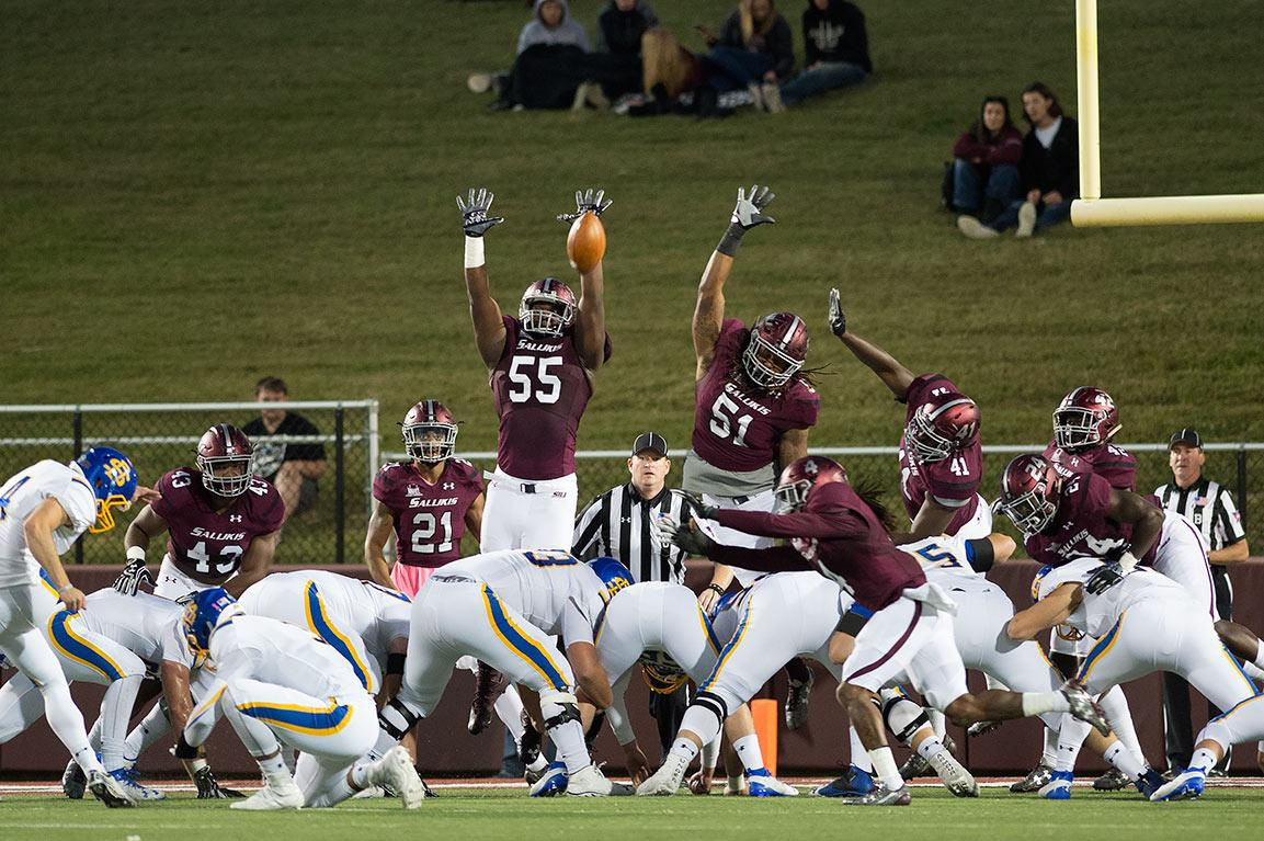 Saluki football players attempt to block a field goal kick during SIU's 45-39 loss to South Dakota State on Saturday, Oct. 8, 2016, at Saluki Stadium. (Jacob Wiegand | @JacobWiegand_DE)