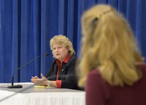 State Rep. Terri Bryant, R-Murphysboro, who is running for re-election in Illinois House of Representatives District 115, answers a question asked by moderator Laura Van Abbema on Friday, Oct. 14, 2016, during a forum organized by the League of Women Voters of Jackson County at the Carbondale Civic Center. (Bill Lukitsch | @lukitsbill)