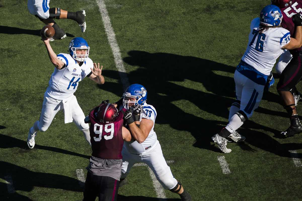 Indiana State sophomore quarterback Isaac Harker (14) launches a pass during the Salukis' homecoming matchup against the Sycamores on Saturday, Oct. 22, 2016, at Saluki Stadium. SIU lost the game by a score of 22-14. (Ryan Michalesko | @photosbylesko)