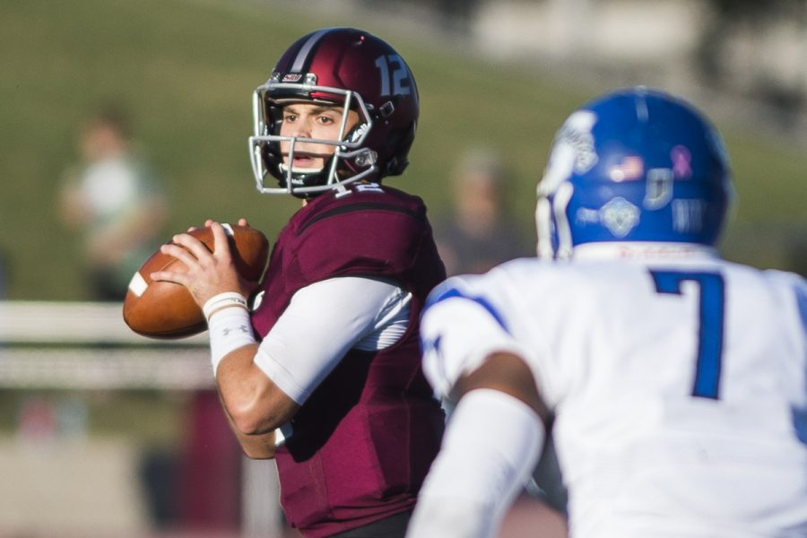 Senior+quarterback+Josh+Straughan+%2812%29+prepares+to+throw+a+pass+during+the+Salukis%27+homecoming+matchup+against+the+Indiana+State+Sycamores+on+Saturday%2C+Oct.+22%2C+2016%2C+at+Saluki+Stadium.+SIU+lost+the+game+by+a+score+of+22-14.+%28Ryan+Michalesko+%7C+%40photosbylesko%29