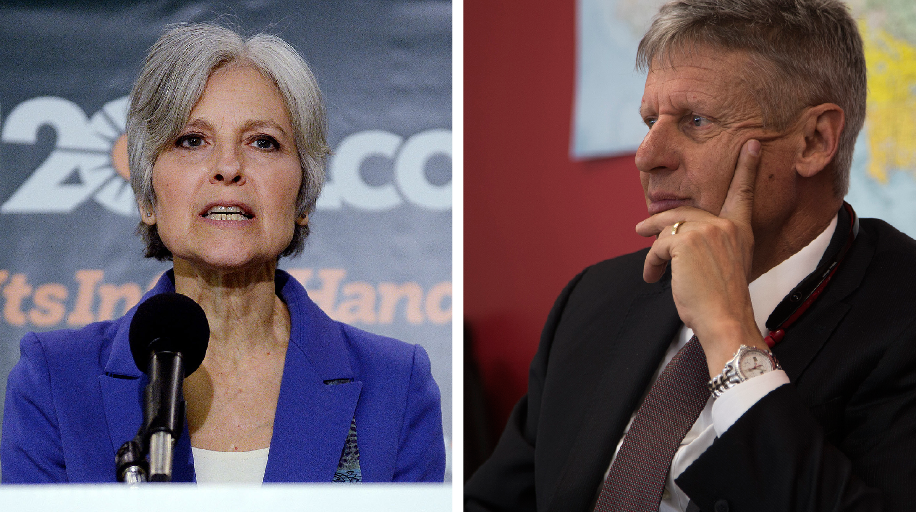 Green Party presidential candidate Jill Stein and Libertarian presidential candidate Gary Johnson. (TNS)