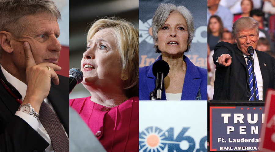 From left: Gary Johnson, Hillary Clinton, Jill Stein and Donald Trump. (TNS photographs)