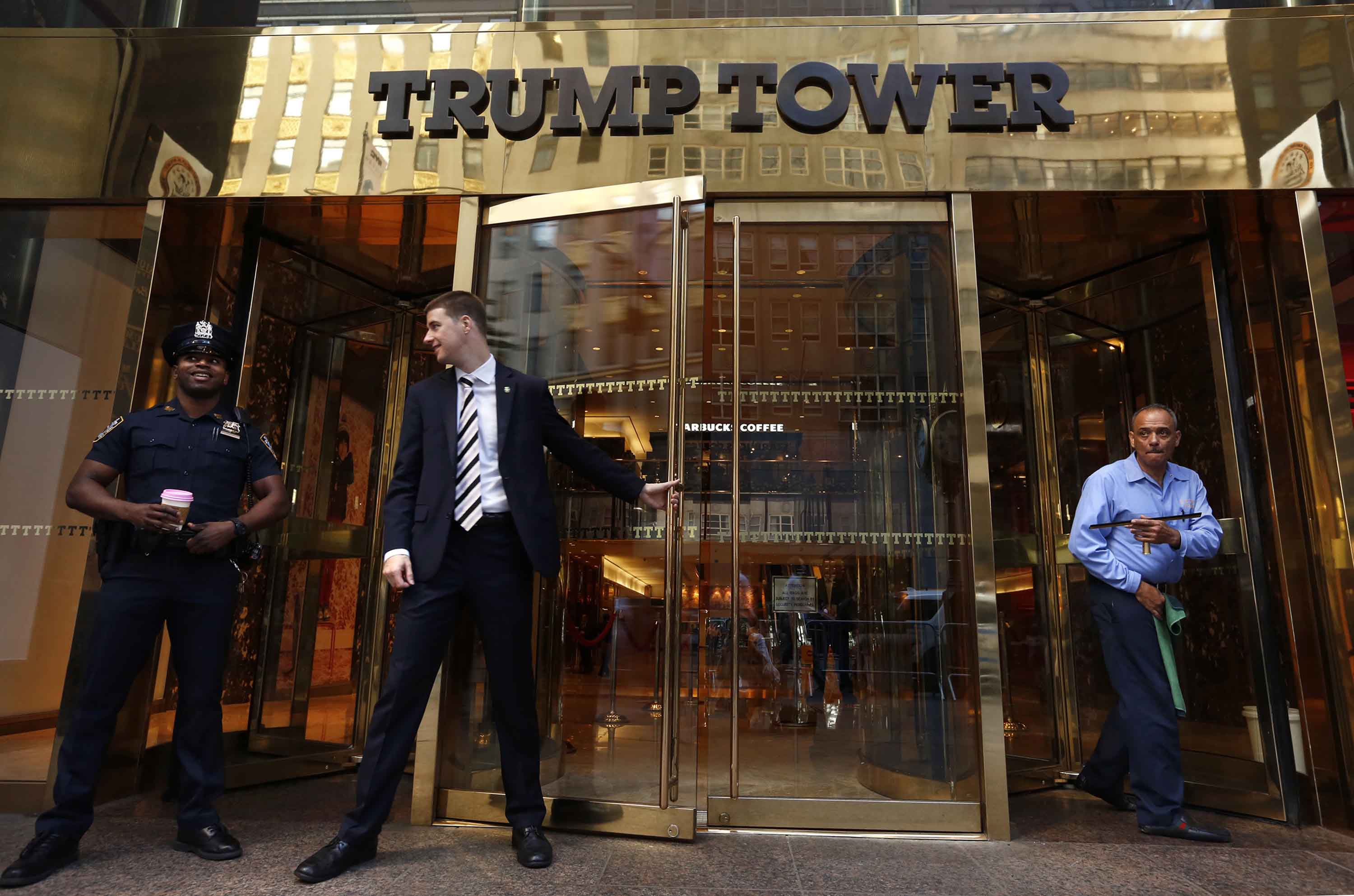Trump Tower at 56th St. and 5th Ave. in New York is headquarters for the Trump campaign.  (Carolyn Cole/Los Angeles Times/TNS)