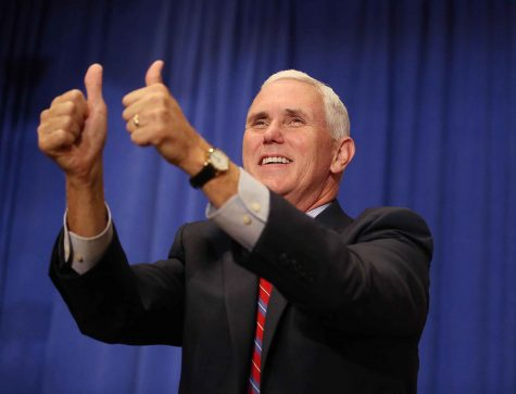 Republican vice presidential candidate Mike Pence speaks at a campaign rally at The Villages, Fla., on Saturday, Sept. 17, 2016. (Stephen M. Dowell/Orlando Sentinel/TNS)