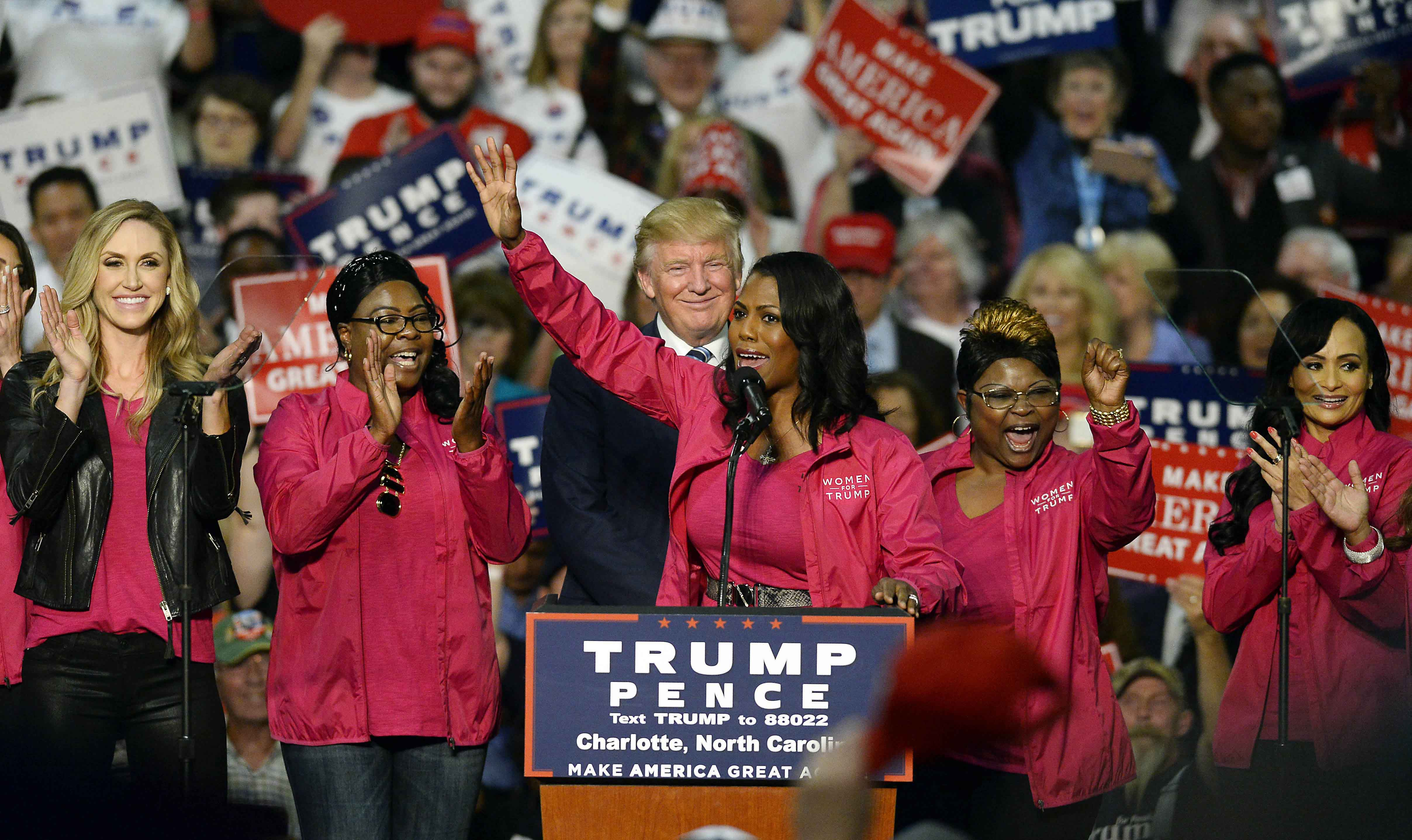 Reality TV personality Omarosa Manigault and other Women for Trump members endorse Republican presidential candidate Donald Trump during a campaign rally at the Charlotte Convention Center in Charlotte, N.C., on Friday, Oct. 14, 2016. (David T. Foster III/Charlotte Observer/TNS)