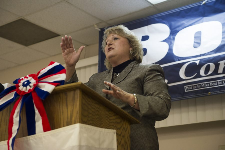 Illinois State Rep. Terri Bryant address supporters at a U.S. Rep. Mike Bost and Illinois State Rep. Terri Bryant victory party Tuesday, Nov. 8, 2016, at the Elks Lodge in Murphysboro. (Ryan Michalesko | @photosbylesko)