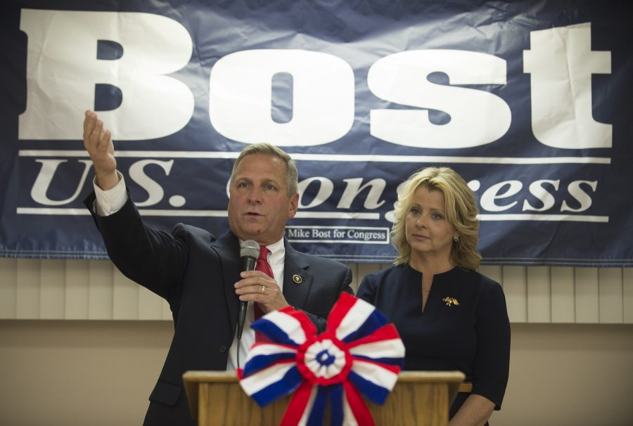 U.S. Rep. Mike Bost and his wife Tracy address supporters at a U.S. Rep. Mike Bost and Illinois State Rep. Terri Bryant victory party Tuesday, Nov. 8, 2016, at the Elks Lodge in Murphysboro. (Ryan Michalesko | @photosbylesko)