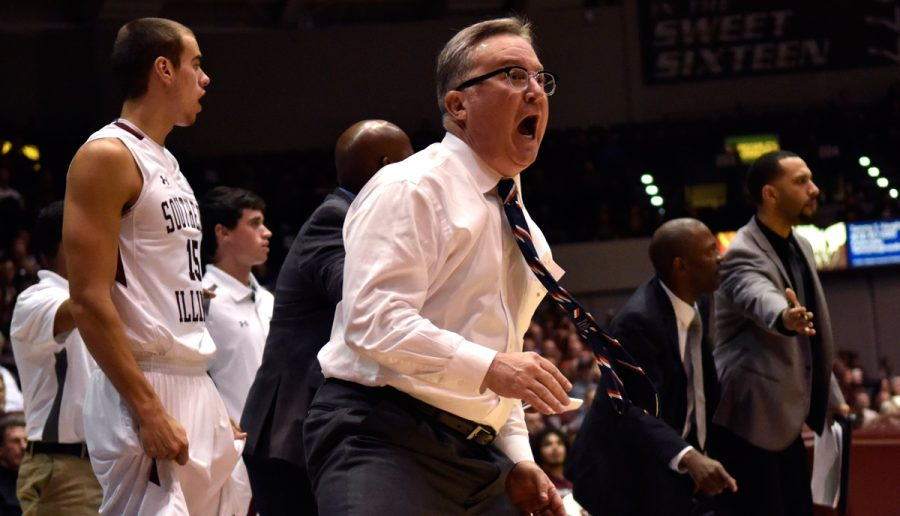 Coach+Barry+Hinson+reacts+to+a+call+during+the+Salukis%27+85-81+loss+to+Wright+State+on+Friday%2C+Nov.+11%2C+2016%2C+at+SIU+Arena.+%28Sean+Carley+%7C+%40SCarleyDE%29+