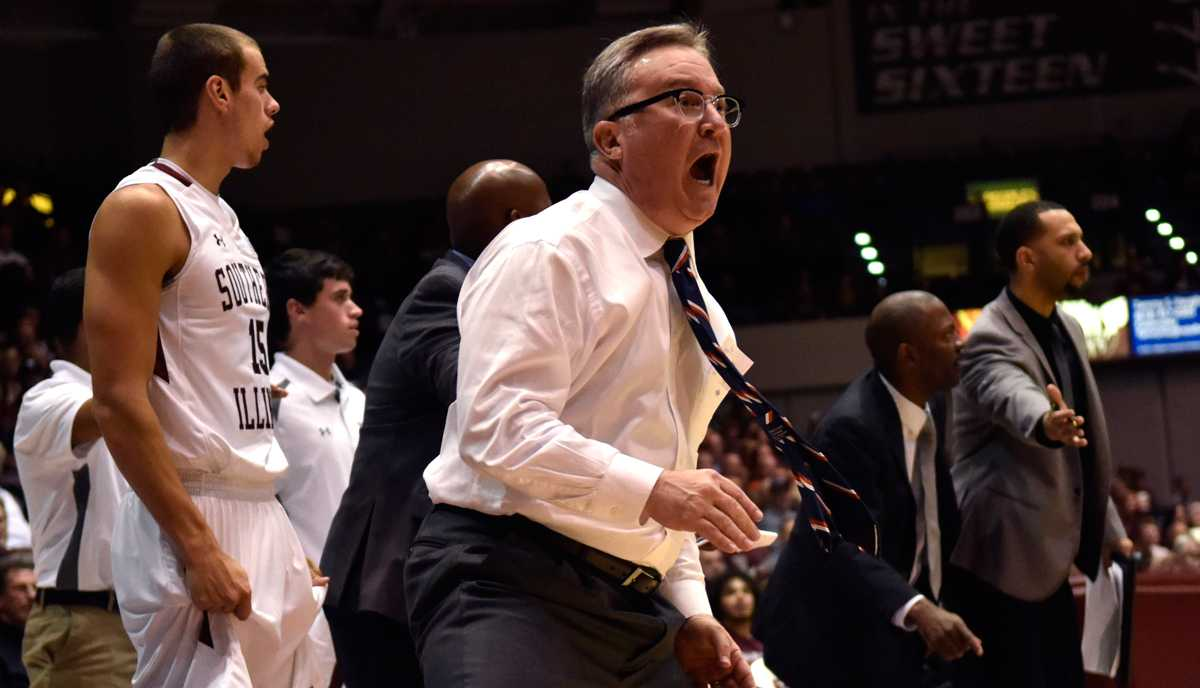 Coach Barry Hinson reacts to a call during the Salukis' 85-81 loss to Wright State on Friday, Nov. 11, 2016, at SIU Arena. (Sean Carley | @SCarleyDE)