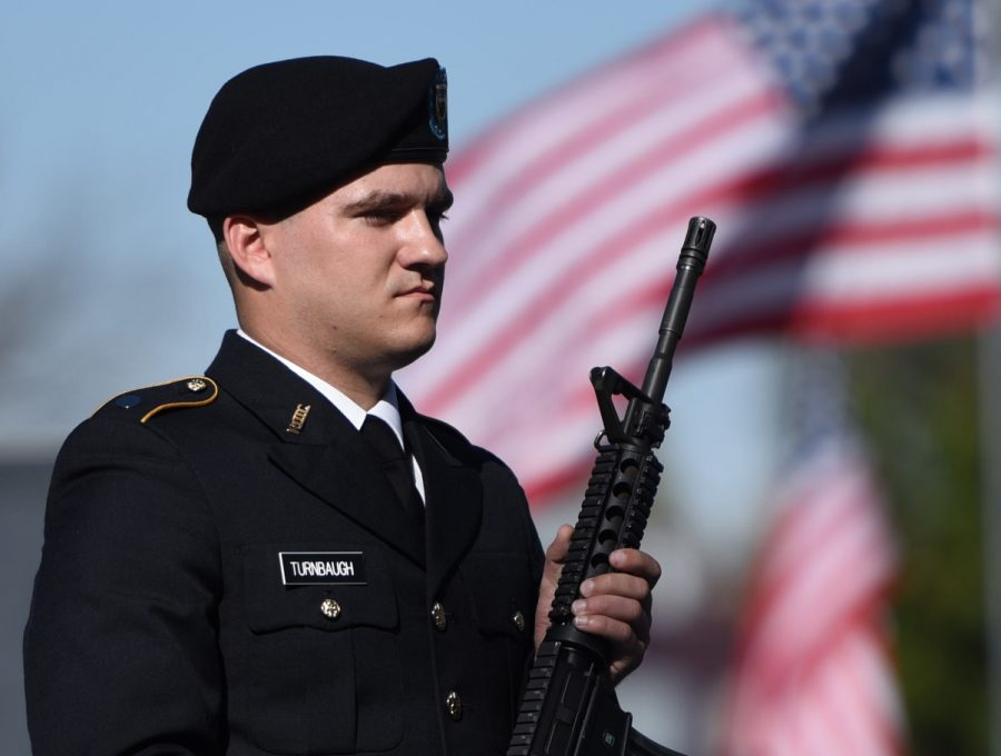 Kenny+Turnbaugh%2C+a+senior+from+Carbondale+studying+history%2C+stands+in+line+with+his+fellow+ROTC+cadets+during+a+Veterans+Day+ceremony+Friday%2C+Nov.+11%2C+at+Veterans+Memorial+Plaza.+%28Bill+Lukitsch+%7C+%40lukitsbill%29