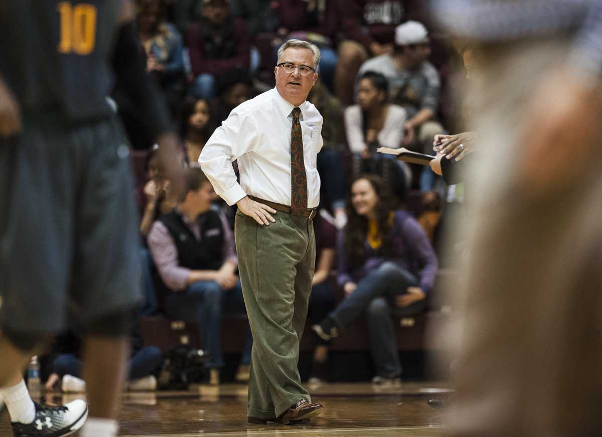 SIU coach Barry Hinson reacts to a play Wednesday, Nov. 16, 2016, during the Salukis' 85-64 win over the Missouri Southern Lions at the SIU Arena. (Ryan Michalesko | @photosbylesko)
