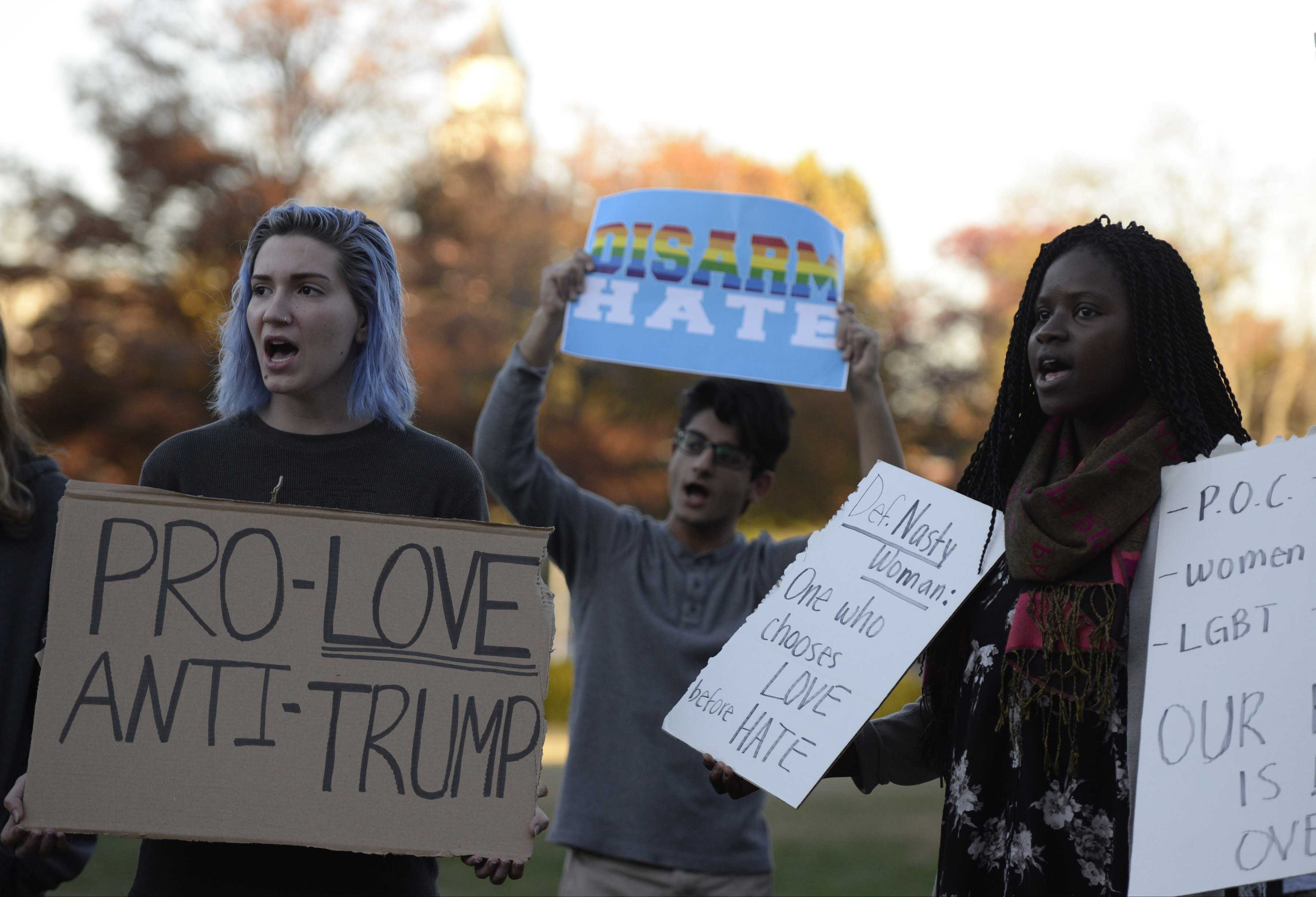 Demonstrators gather Wednesday, Nov. 16, 2016, in front of Morris Library to protest a host of issues surrounding the election of Donald Trump as president. (Bill Lukitsch | @lukitsbill)