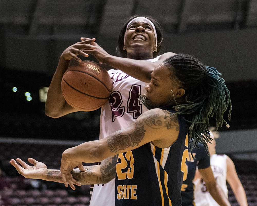 Senior forward Kim Nebo gets the ball knocked out of her hands during the Salukis' 70-63 win against Murray State on Thursday, Nov. 17, 2016, at SIU Arena. (Sean Carley   @SCarleyDE)