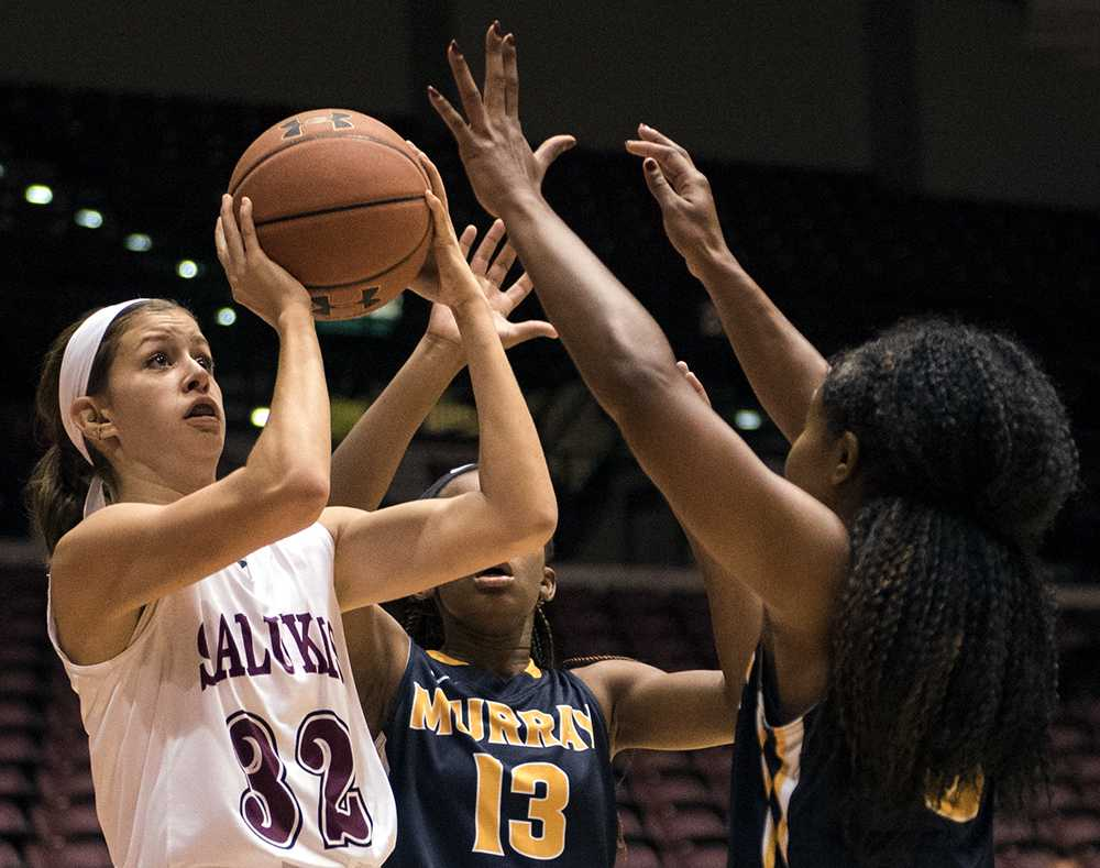 Junior guard Kylie Giebelhausen attempts a shot during the Salukis' 70-63 win against Murray State on Thursday, Nov. 17, 2016, at SIU Arena. (Sean Carley | @SCarleyDE)