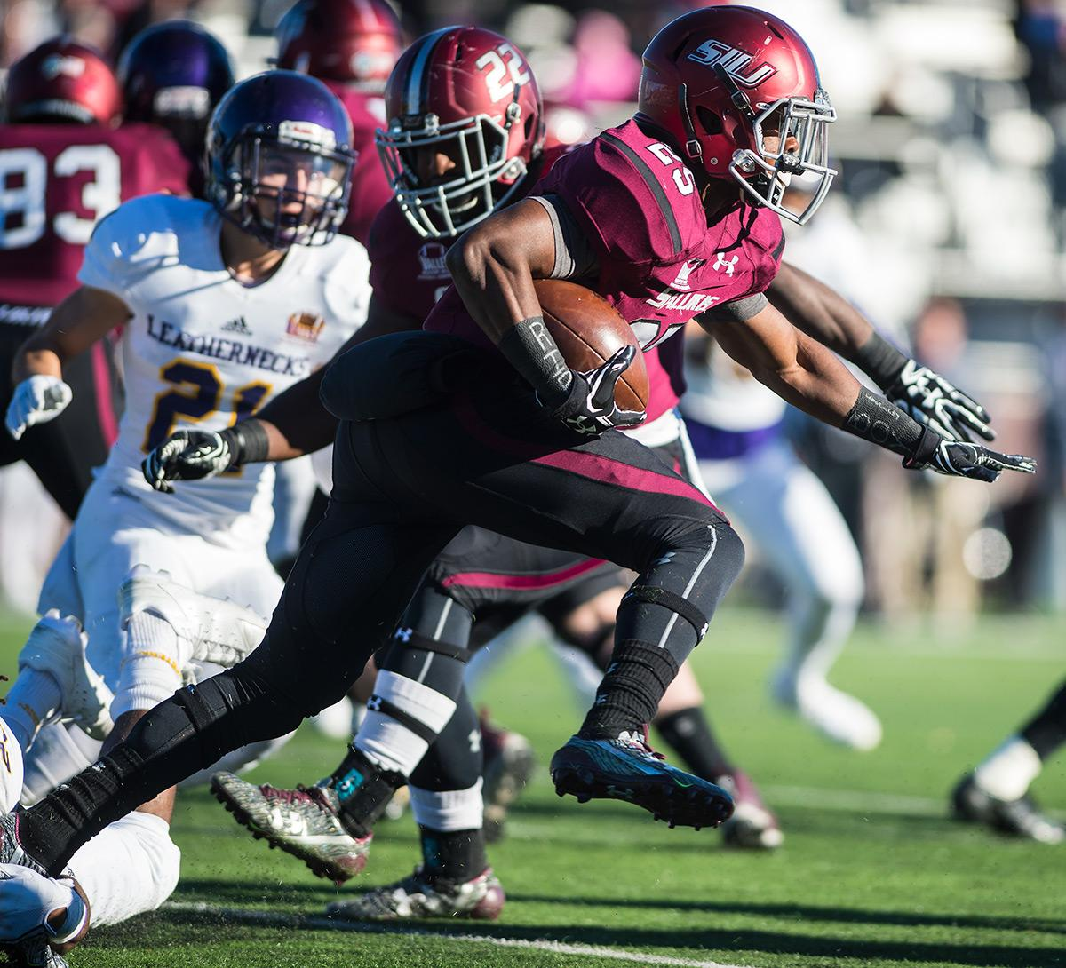 Freshman running back D.J. Davis takes the ball toward the end zone during the first half of the Salukis' matchup against WIU on Saturday, Nov. 19, 2016, at Saluki Stadium. (Jacob Wiegand | @jawiegandphoto)