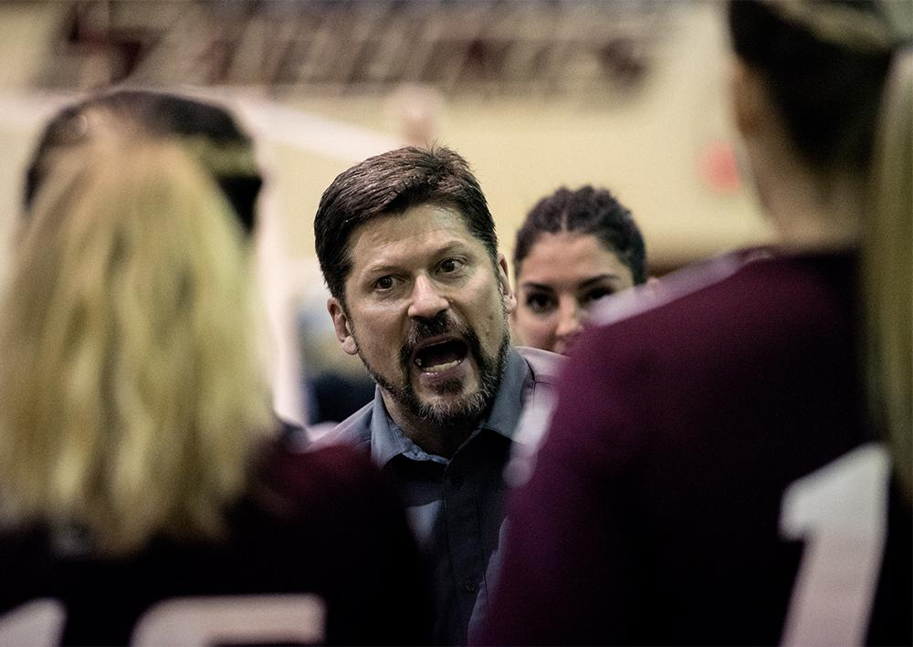 Assistant coach Todd Nelson speaks to members of the Saluki volleyball team during a time out Saturday, Nov. 19, 2016, during SIU's 2-3 loss to Missouri State in Davies Gym. (Morgan Timms | @Morgan_Timms)