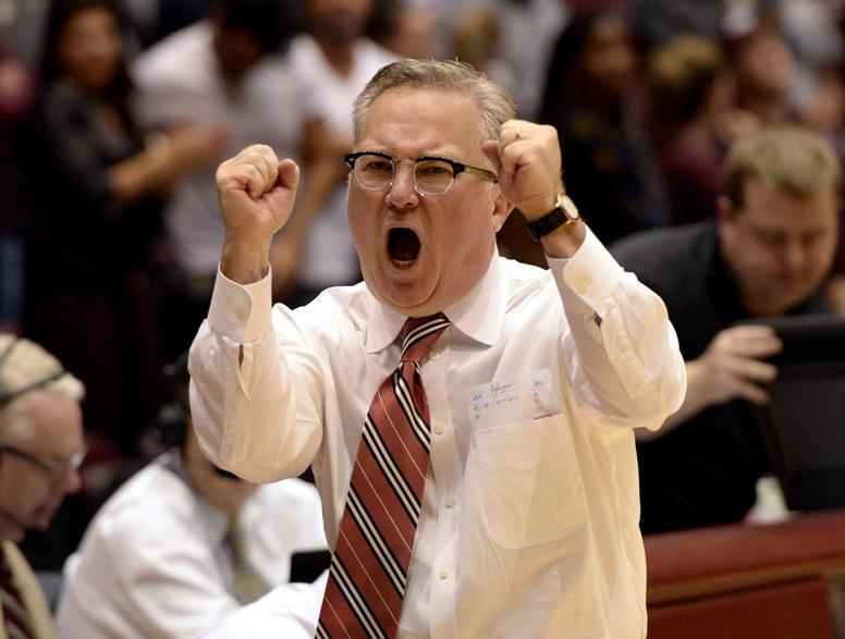 Saluki coach Barry Hinson celebrates after SIU's 89-85 win against Murray State on Tuesday, Nov. 29, 2016, at SIU Arena. (Sean Carley | @SeanMCarley)