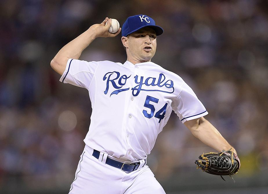 Kansas City Royals relief pitcher Jason Frasor throws in the seventh inning against the Cleveland Indians on Friday, July 25, 2014, at Kauffman Stadium in Kansas City, Mo. The Royals won 6-4. (John Sleezer/Kansas City Star/MCT)