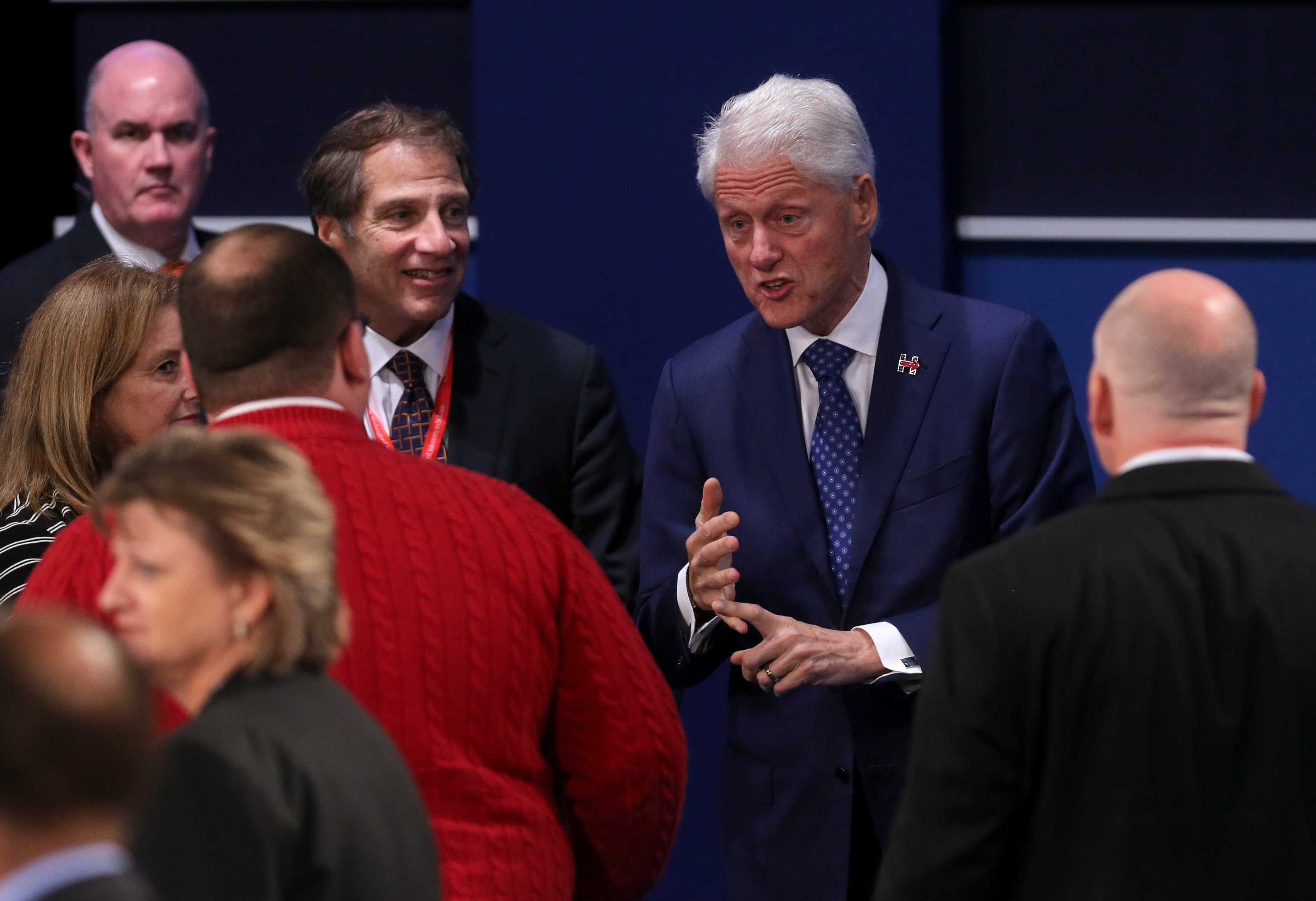 Former President Bill Clinton talks with Ken Bone after the second debate between the Republican and Democratic presidential candidates on Sunday, Oct. 9, 2016 at Washington University in St. Louis, Mo. (Christian Gooden/St. Louis Post-Dispatch/TNS)