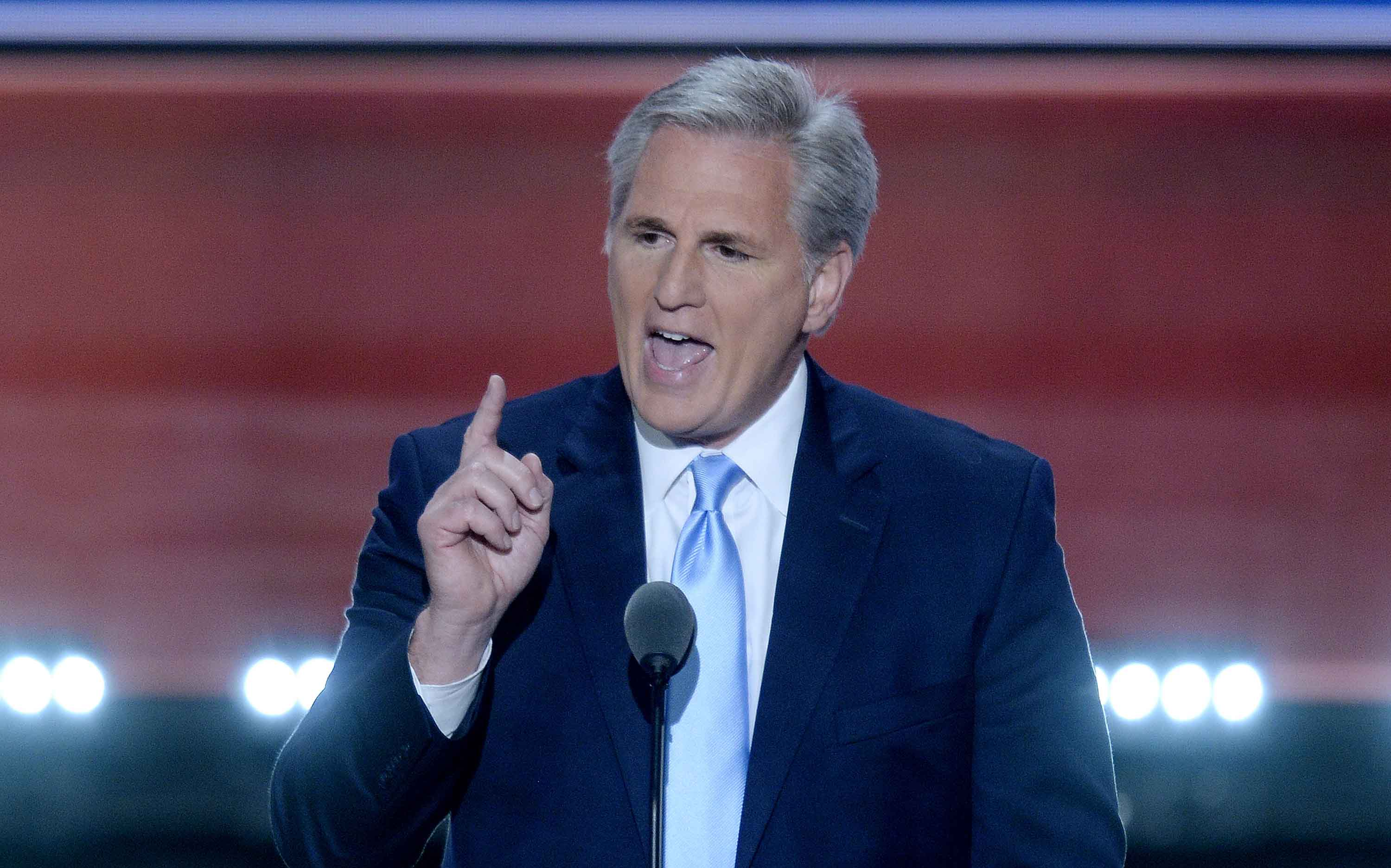 House majority leader Kevin McCarthy, R-Calif., speaks on the second day of the Republican National Convention on Tuesday, July 19, 2016, at Quicken Loans Arena in Cleveland. (Olivier Douliery/Abaca Press/TNS)