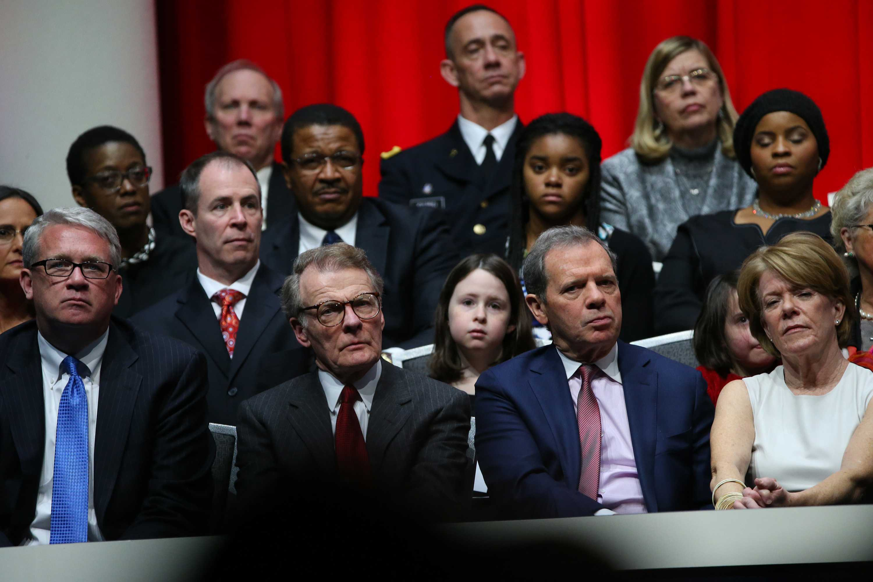 Speaker Mike Madigan and Senate President John Cullerton listen as Gov. Bruce Rauner speaks about making changes in the state on Monday Jan. 12, 2015 at the Prairie Capital Convention Center in Springfield, Ill. (Nancy Stone/Chicago Tribune/TNS)