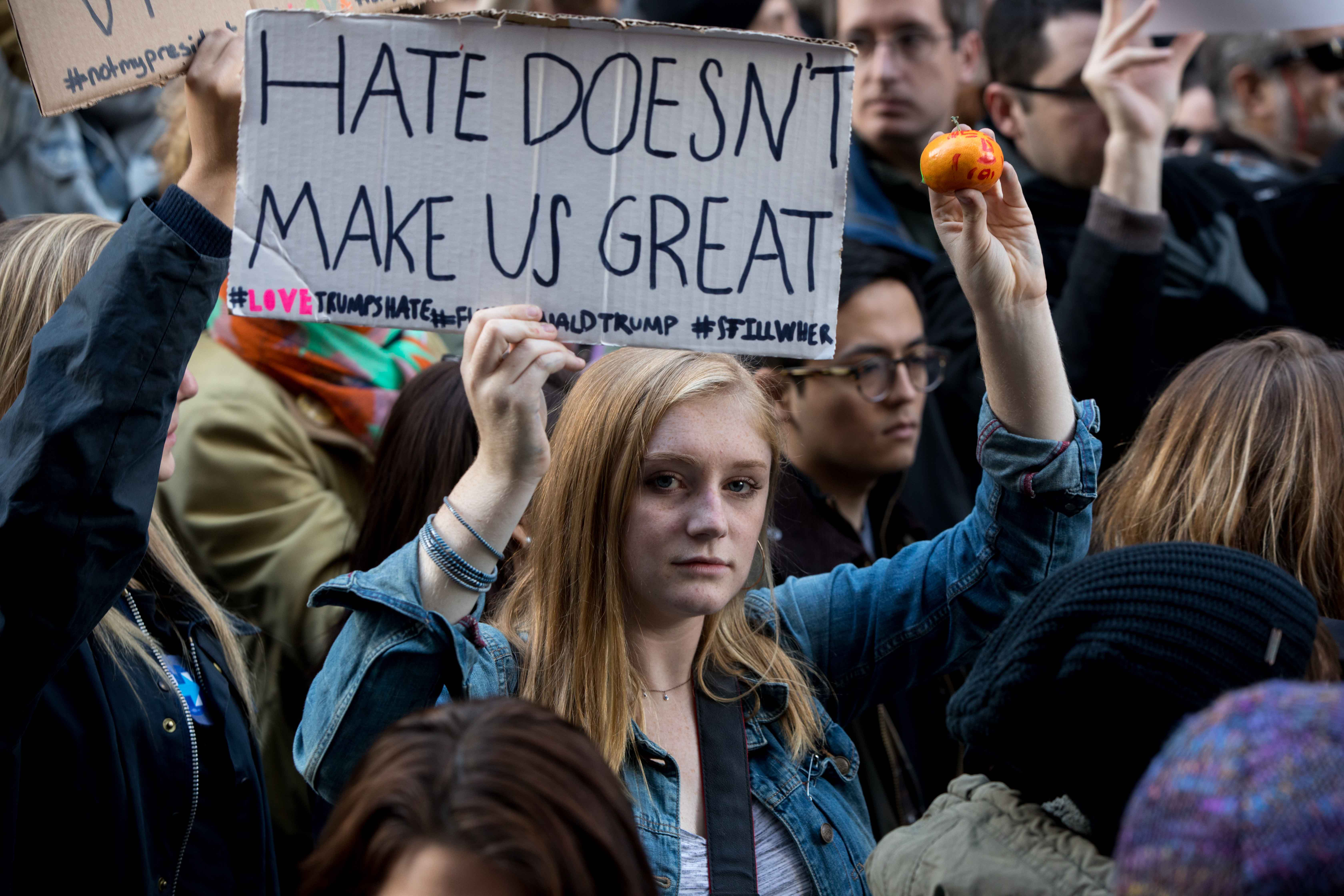 Protestors gather at a massive anti-Donald Trump rally at Trump Tower in Manhattan on Saturday, Nov. 12, 2016. (Jeffrey Basinger/Newsday/TNS)