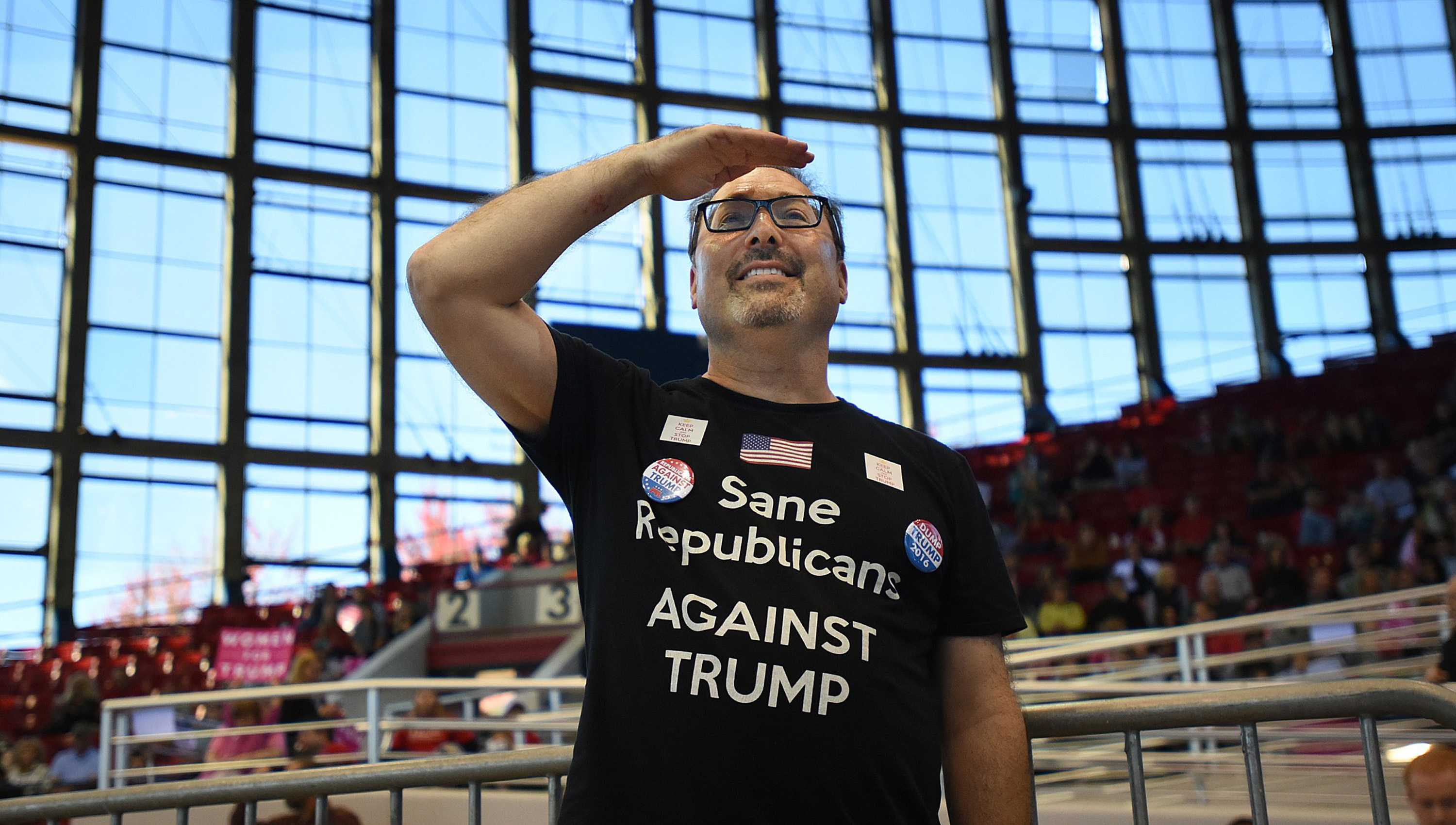 "Dr. Gabriel Feldman, from New York City, flew to Raleigh today just to see what the ""Trump phenomenem"" is all about at Dorton Arena Monday, Nov. 7, 2016 in Raleigh N.C. It's the final day before Election Day. (Chuck Liddy/Raleigh News & Observer/TNS)"