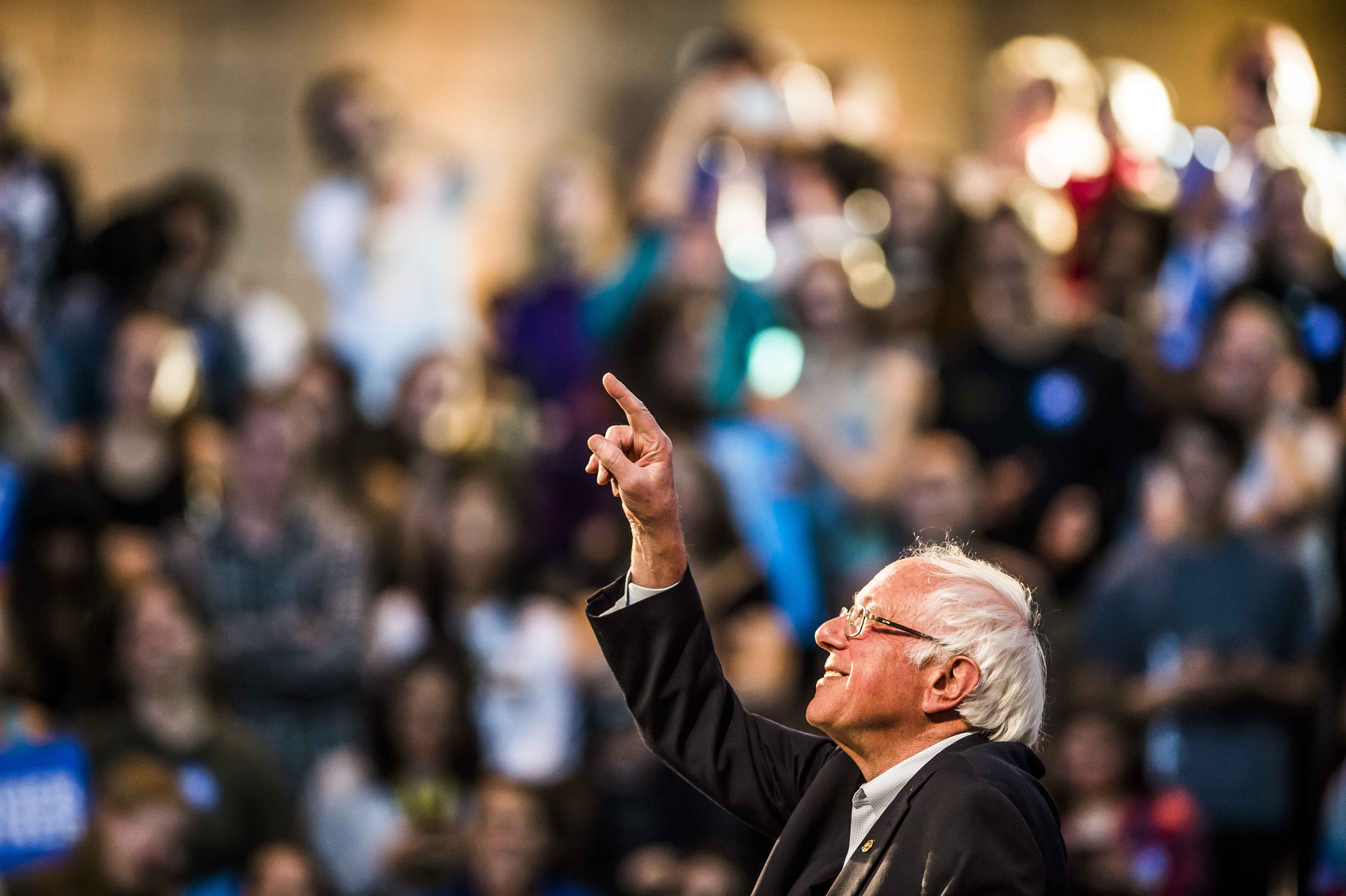 Vermont Sen. Bernie Sanders points to a supporter during a Get Out the Vote rally at Colorado College, in which he campaigned for Democratic presidential candidate Hillary Clinton, on Saturday, Nov. 5, 2016, in Colorado Springs, Colo. (Stacie Scott/Colorado Springs Gazette/TNS)