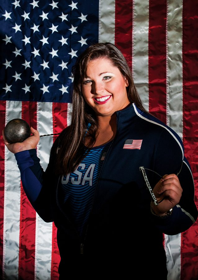 Deanna Price, an SIU graduate from Moscow Mills, Mo., poses for a portrait Thursday, Sept. 1, 2016, at the Daily Egyptian newsroom. Price placed eighth in hammer throw, throwing 70.95 meters, at the 2016 Olympics in Rio de Janeiro. (Ryan Michalesko | @photosbylesko)