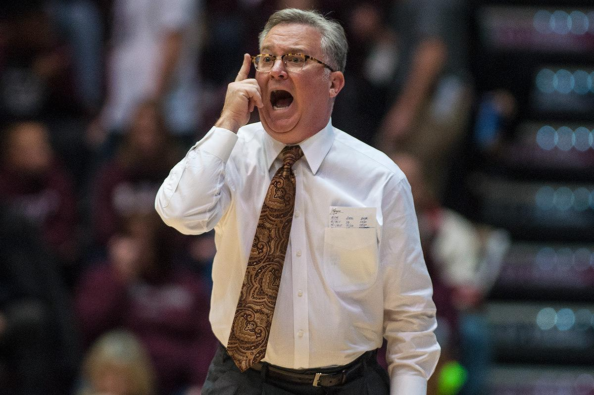 SIU coach Barry Hinson yells to his players during the Salukis' 74-70 win over Texas Southern on Saturday, Dec. 3, 2016, at SIU Arena.
