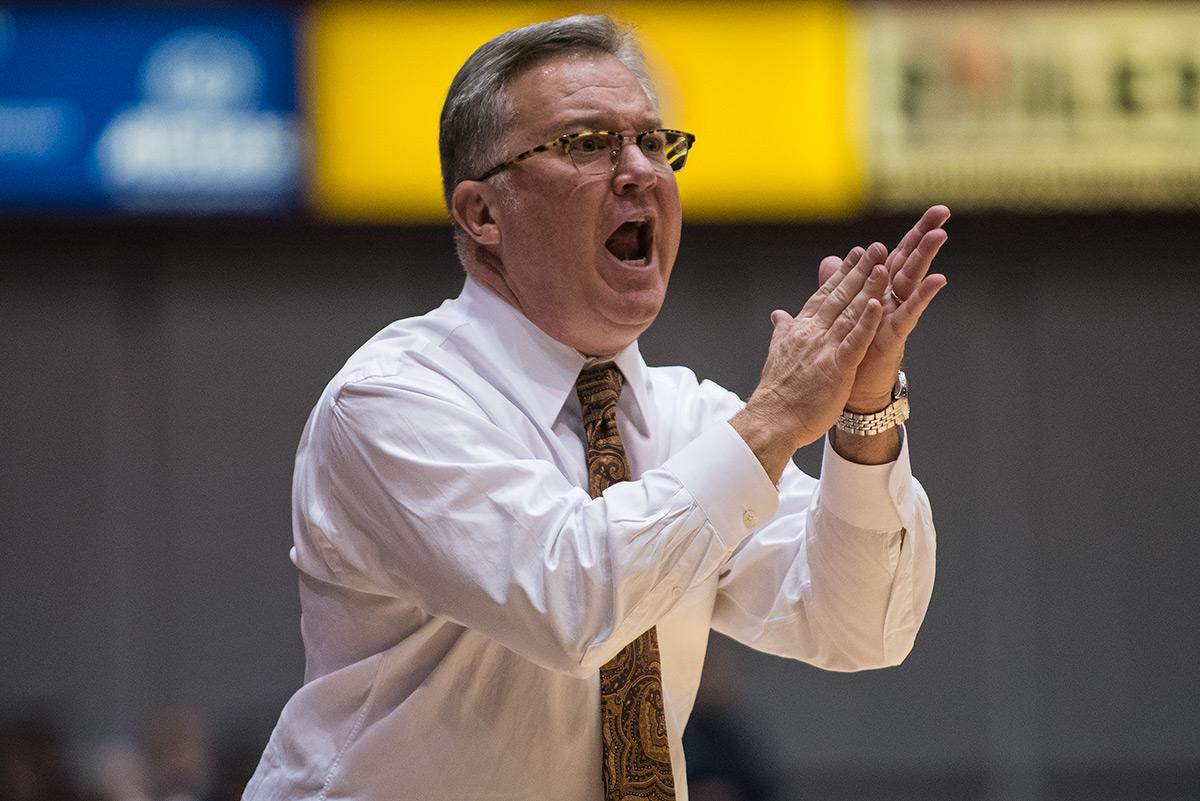 SIU coach Barry Hinson reacts during the Salukis' 74-70 win over Texas Southern on Saturday, Dec. 3, 2016, at SIU Arena. (Jacob Wiegand | @jawiegandphoto)