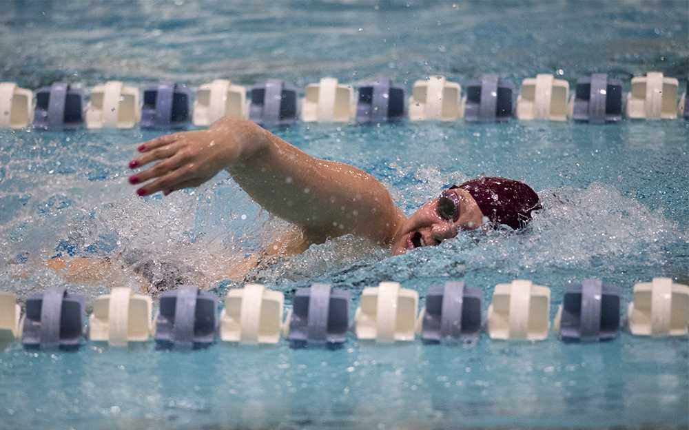 SIU junior Bryn Handley swims the 500-yard freestyle race Saturday, Dec. 3, 2016, during the Saluki women's team's 155-143 loss to Missouri State at Edward J. Shea Natatorium. Handley and her teammates, junior Kelsie Walker and senior Lauren Stockton, took the top three places in the 500-yard freestyle event. (Morgan Timms | @Morgan_Timms)