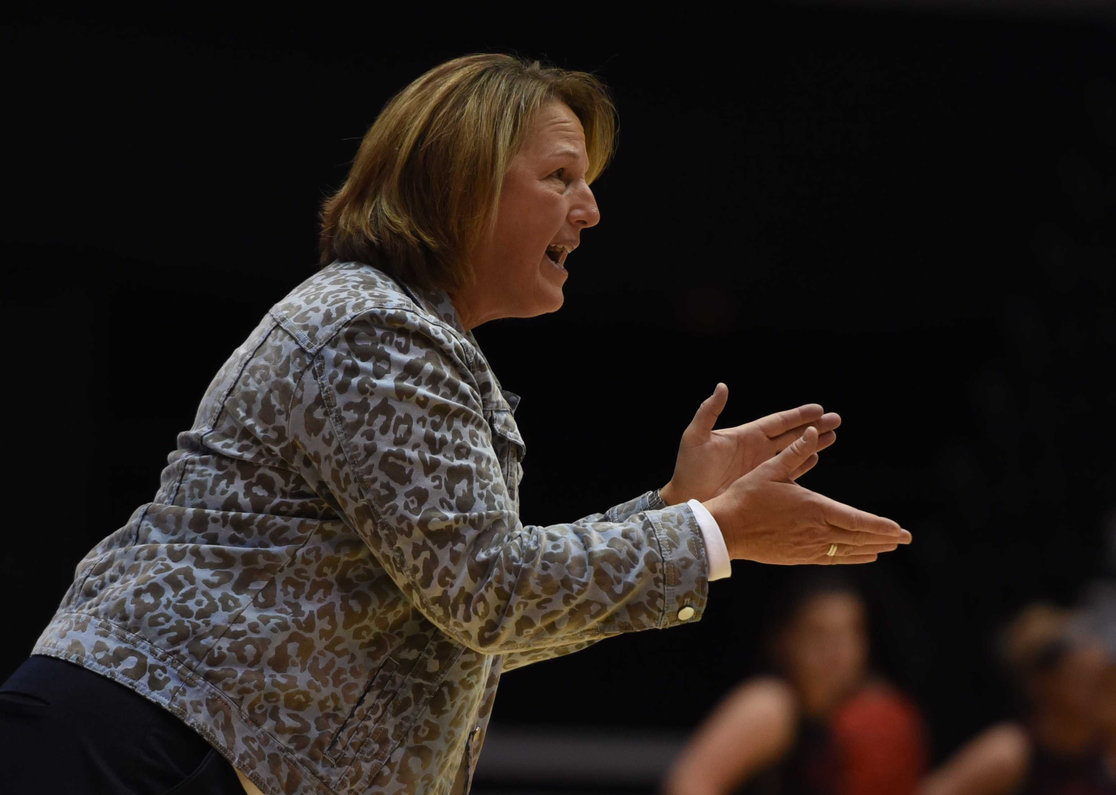 SIU coach Cindy Stein encourages the Salukis during the team's 77-70 win Friday, Dec. 9, 2016, against Southeast Missouri at SIU Arena. (Bill Lukitsch | @lukitsbill)