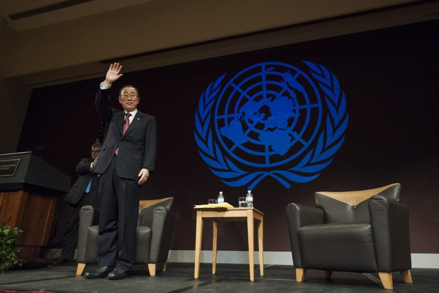 United Nations Secretary-General Ban Ki-moon waves to the crowd before delivering his final public lecture while in office Wednesday, Dec. 21, 2016, at the Student Center. (Ryan Michalesko | @photosbylesko)
