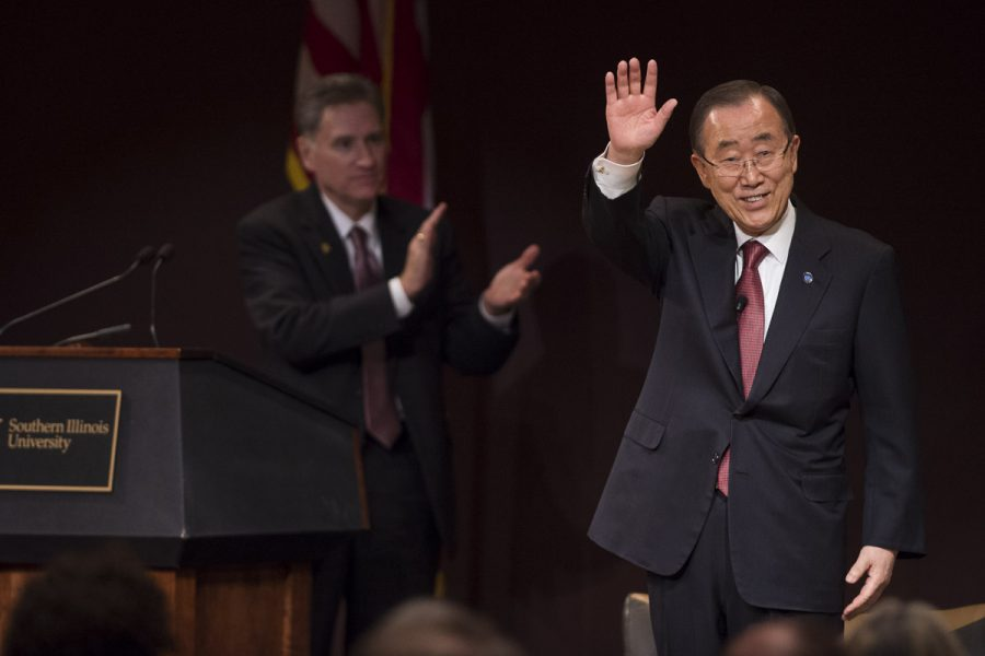 United Nations Secretary-General Ban Ki-moon is thanked for his visit by SIU President Randy Dunn after delivering his final public lecture while in office Wednesday, Dec. 21, 2016, at the Student Center. (Ryan Michalesko | @photosbylesko)