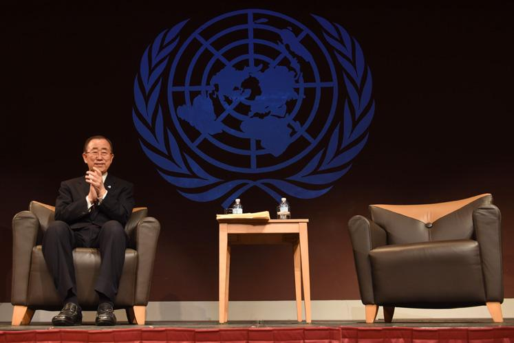 United Nations Secretary-General Ban Ki-moon sits in front of a large crowd gathered for his last public speech while in office Wednesday, Dec. 21, 2016, in the Student Center ballrooms. The diplomate was elected head of the U.N. in 2007.  (Anna Spoerre | @annaspoerre)