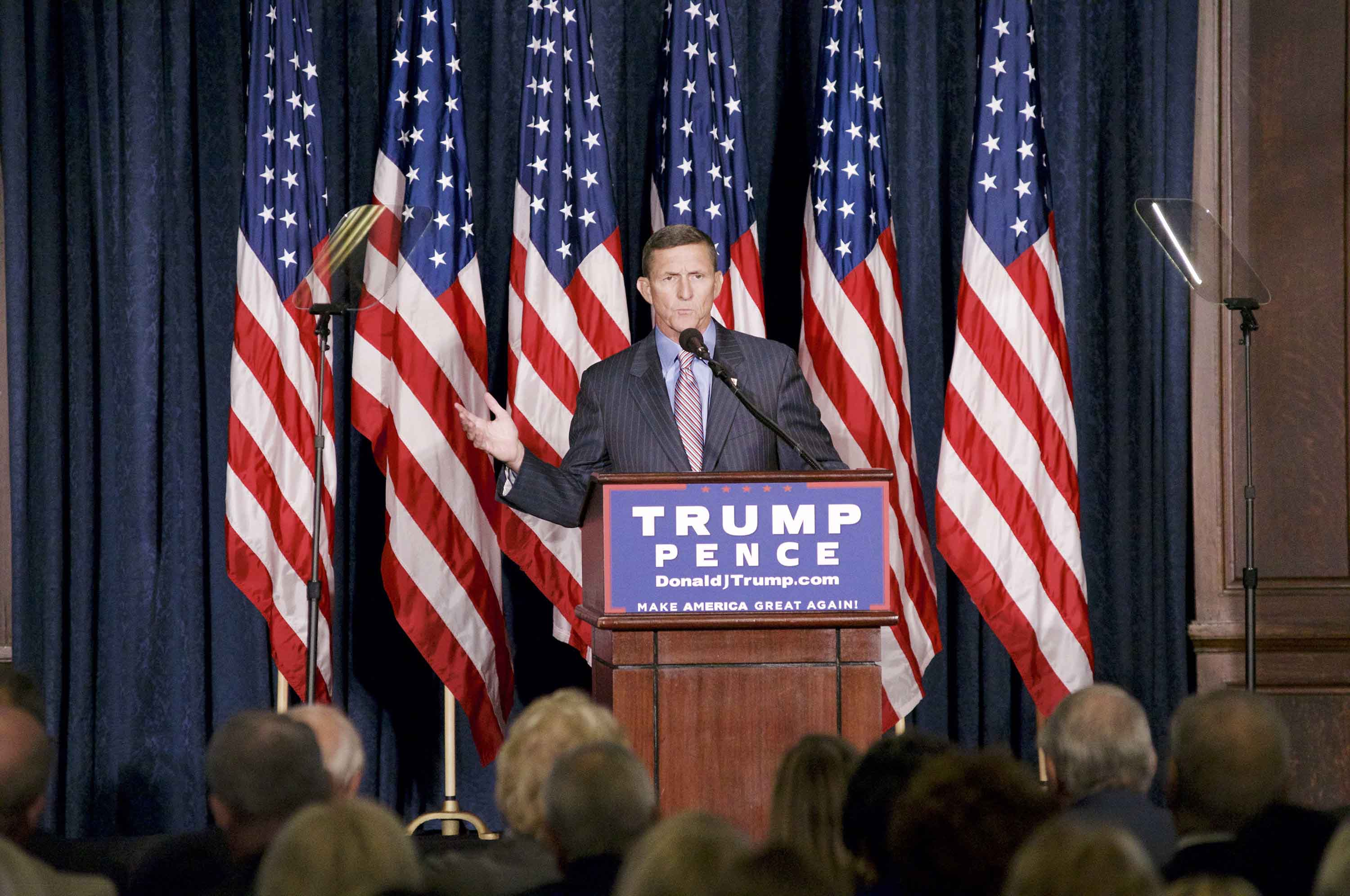 Retired Lt. Gen. Michael Flynn introduces Donald Trump at a Sept. 7, 2016 campaign event at the Union League in Philadelphia, Pa. (Bastiaan Slabbers/Zuma Press/TNS)