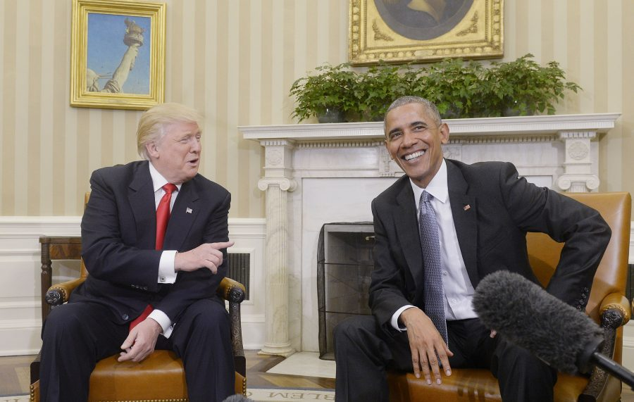 U.S. President Barack Obama meets with President-elect Donald Trump on Thursday, Nov. 10, 2016, in the Oval Office of the White House in Washington, D.C. in their first public step toward a transition of power. (Olivier Douliery/Abaca Press/TNS)